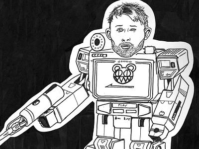Inktober drawing 'Radio' transformers soundwave thom yorke radiohead handdrawn inktober illustratie utrecht drawing illustration