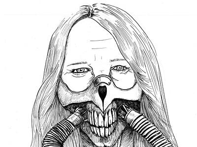 Immortan Linda de Mol inktober teeth illustrated tekening immortanjoe immortan linda de mol illustratie handdrawn portrait utrecht donorbrain drawing illustration