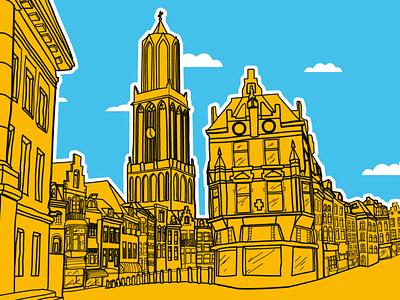 Mural of the city of Utrecht illustration vector city architecture skyline drawing mural utrecht