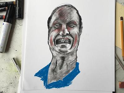 Frustration - Frustratho, Tomato - Tomatho crayon pencil face illustration anger portrait chalk charcoal drawing