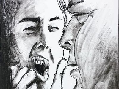 Wat zei je daar? illustratie anger blackandwhite argument chalk charcoal drawing illustration