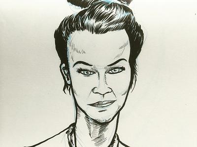 Portrait of Maxime sketchbook utrecht drawing brushpen portrait illustration