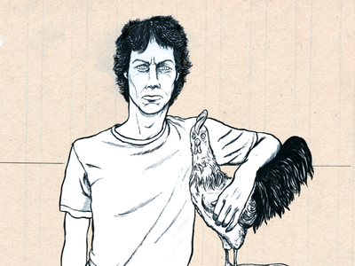 Portrait i made of 'Toon' (the chicken whisperer) handdrawn funny pen and ink pen portrait utrecht drawing cartoon illustration
