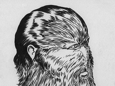 The Wolfman inktober illustration hair blackandwhitedrawing misfit drawing brushpen hairy wolfman