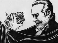 Bela Lugosi eating hamburger