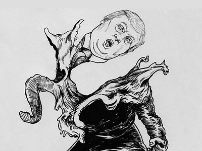 Trumpinator ink illustration utrecht donaldtrump t1000 terminator trump drawing donorbrain inktober