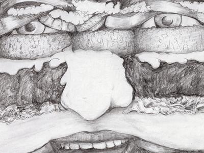 Burger Me portrait illustratie donorbrain pencil drawing illustration hamburger burger burgerme
