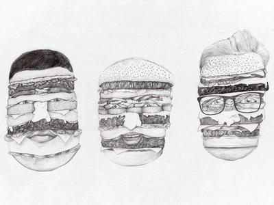 Burger Me illustratie pencil funny donorbrain drawing illustration portrait burger hamburgers burgers burgerme