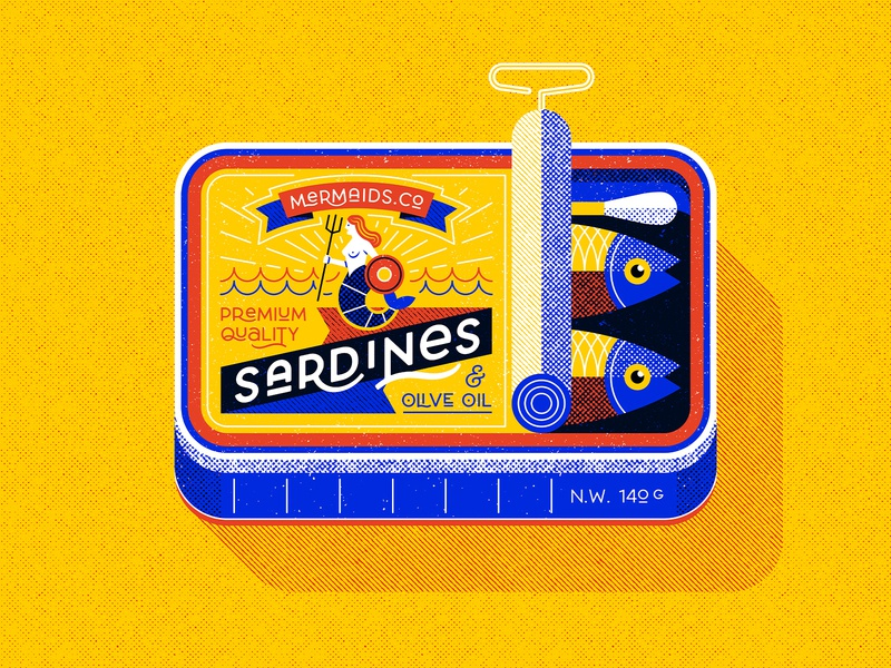 Sardine can, personal work vector illustration flat illustration illustration art direction pollution marine food illustration ocean fish plastic waste lettering retro vintage art deco art nouveau sardine can sardines mermaid