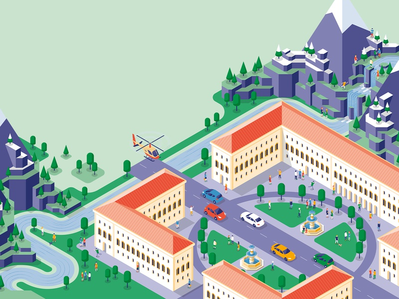 Alpine isometry, isometric illustration illustrator outdoor rocks parc car waterfall helicopter university river mountain alpine vector illustration vector isometric art isometric design isometric illustration isometric isometry munich
