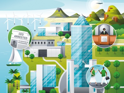 Infographic sustainability, Roland Berger vectorartist map illustration map futuristic future utopia no planet b friday for future flat illustration flatdesign vector landscape illustration editorial illustration infographic architecture green eco sustainable sustainability