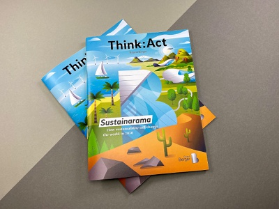 Cover illustration, sustainability report vector illustration look into future island map world architecture technology green there is no planet b utopy editiorial illustration cover illustration future eco sustainability sustainable