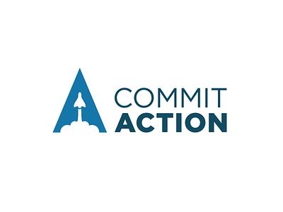 Commit Action Logo logo rocket brand