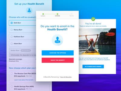 Mobile benefit selection App ux ui mobile webapp