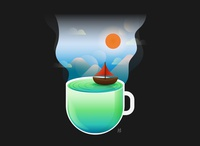 The lake in the coffee cup.