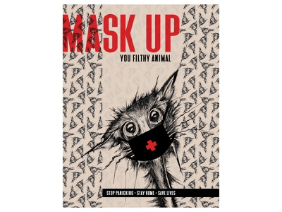 Mask Up Covid-19 18x24 Poster Design awareness graphicdesign graphic design poster art save lives filthy animal animal cat mask up wear a mask stay safe stay home covid19 covid-19 poster design poster illustration pen and ink illustrator