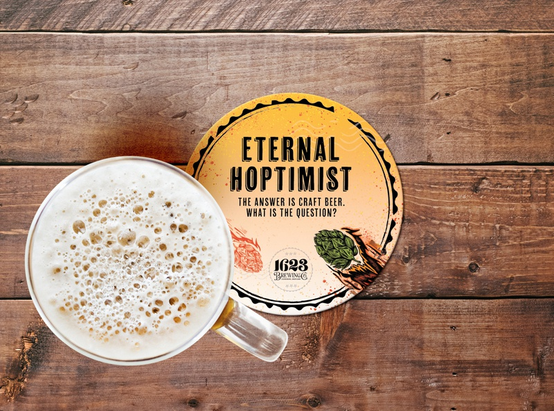 Eternal Hoptimist Coaster Design for Craft Beer drink local taproom bar coaters illustrator illustration merch swag beer art brewery branding brewery beer branding hop comet illustration art design coaster design craft beer beer hoptimist coaster