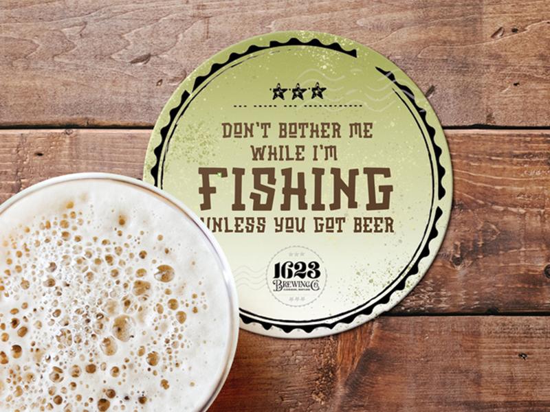 Fishing coasters beer brand fishing rod beer art print design design beer brewery beer branding coaster design coasters