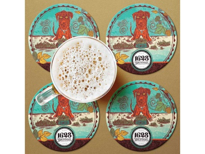 Beer coaster design branding illustration art illustration craft beer design mockup beer brewery beer art dog coaster design beer mat coaster