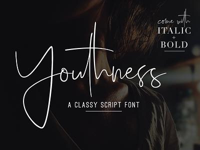 Youthness - Signature Script calligraphy instagram stylish fashion blog hand-lettered handwriting handwritten font family feminine elegant luxury modern classy signature font script