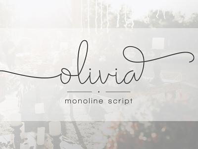 Olivia - Elegant Monoline Script modern handdrawn web blog fashion branding swash signature hand-lettered handwriting handwritten classy wedding feminine luxury elegant monoline logo script