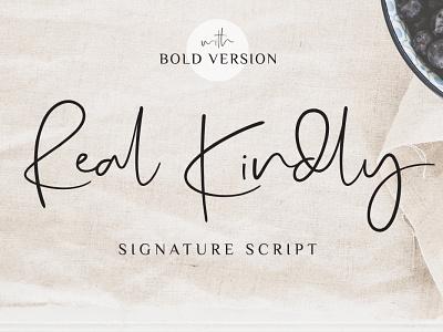 Real Kindly - Signature Script logo casual instagram branding stylish bold blog fashion handwritten handwriting hand-lettered handdrawn signature classy modern feminine script font luxury elegant
