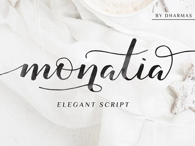 Monatia - Elegant Script rough blog fashion logo branding invitation wedding calligraphy feminine classy modern luxury elegant handwriting handwritten handlettering hand-lettered handdrawn script font