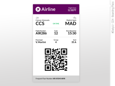 #DailyUI #024 #BoardingPass