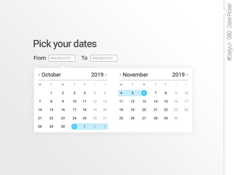 #DailyUI #080 #DatePicker