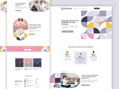Philodee   Website for stress relief covid19 stress relieve website design landingpage minimal simple 2020 trend ui user interface designer abstruct adobe stock pattern design landing page