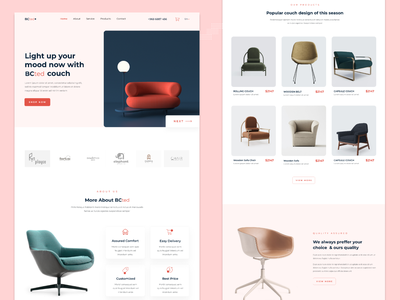 BCTED - Product landing age graphicsdesign product design product page uidesign woocommerce sofa user interface landing page