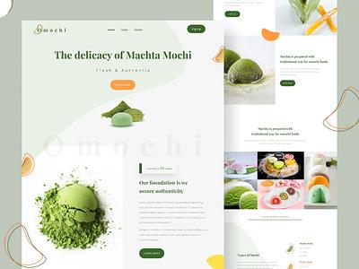Omochi - Japanese dessert landing page uiux dribbble shot clean design web desiger web design website clean ui green food landing page
