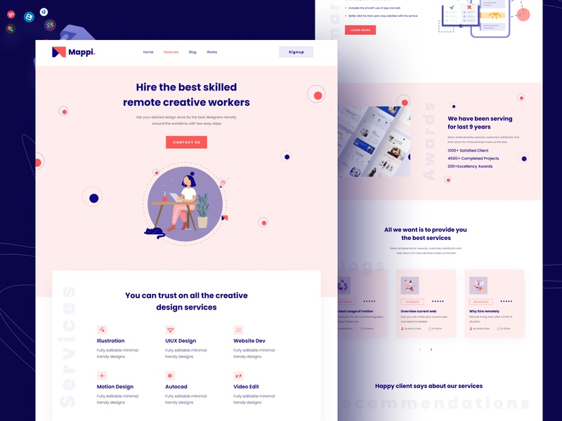 Mappi - Remotely hiring website landing page dribbble best shot minimal figmadesign design agency landing page design remote remote work hire