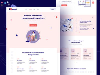 Mappi - Remotely hiring website landing page dribbble best shot minimal figmadesign design agency landing page design remote remote work hire