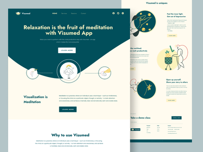 Visumed   Relaxation app Preview dribbble best shot services clean webdesign simple minimal user interface on the go app landing page lifestyle yoga meditate relaxation