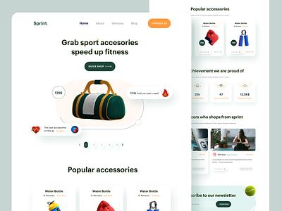 Sprint  Sport accessories store influencer web graphicdesign design minimal sports branding ui user interface website webdesign accessory fitness sports landing page