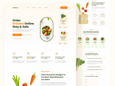 Grocen - Online Grocery Delivery clean user interface ui webdesign website orange online store grocery store food delivery