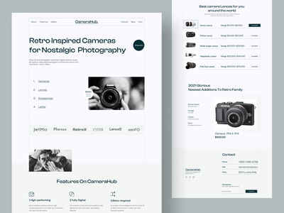 CameraHub -Retro Camera Shop clean minimal typogaphy bold font branding elegant uiux landing page user interface webdesign retro design retro ecommerce shop ecommerce