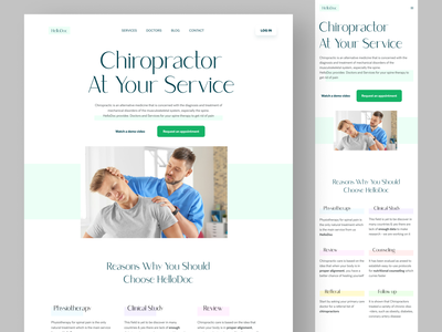 HelloDoc - Chiropractors Finding site website ui minimal user interface medical website landing page webdesign physiotherapy spine treatment chiropractors doctor website