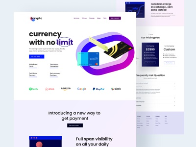 Payment management Landing page UI Design overlaps agency landing page exchange analytics credit transfer banking app banking finance curency crypto crypto management money transfer credit card online banking mobile banking money transaction management payment