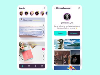 Freshr - Social App Design application app social social network social app design mobile mobile app ui design mobile design ui