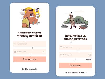 SignIn / SignUp - Treasure hunt app illustration ui ux designer mobile form form input ui mobile app ux design design mobile ui ux mobile app sign up sign in ui design ux ui