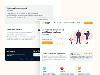 MyRobot Landing Page Website illustration landing page design website design ux ui blue orange design website landing page