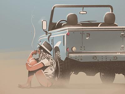 Just One More Minute vacation summer desert offroad girl brush illustration