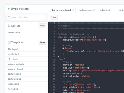 Theme Editor Refresh ide less liquid ace code editor theme themes