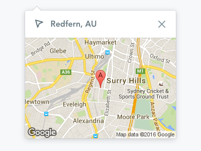 Location Popover dropdown popover map maps google location
