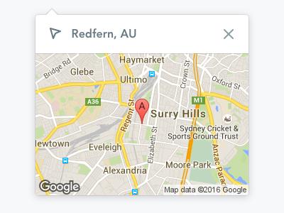 Location Popover dropdown popover map maps google location