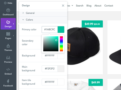 Store Toolbar navigation sidemenu toolbar selz sell shop ecommerce store