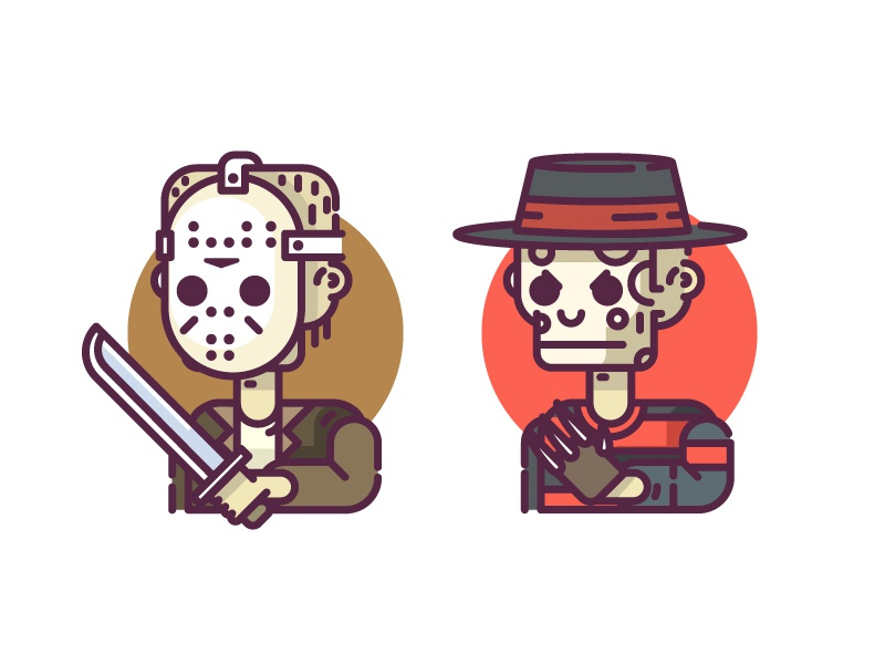 Horror Characters - Freddy vs Jason vector line icon jason freddy horror