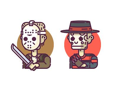 Horror Characters - Freddy vs Jason vector line icon jason freddy horror